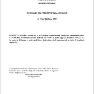 Presidente Regione Calabria - Ordinanza 20 Marzo 2020 - Convid-19