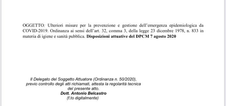 Ordinanza Regione Calabria - 8 Agosto 2020