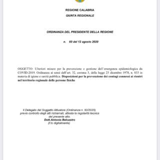 Regione Calabria Ordinanza n.60 del 12 Agosto 2020