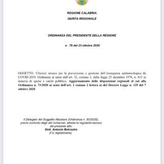 Ordinanza Regione Calabria 23 Ottobre